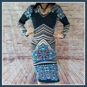 NWT Fire Los Angeles Blue Print Bodycon Midi Dress